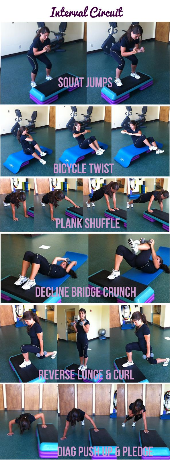 Quick interval circuit workout using a step and 2 weights