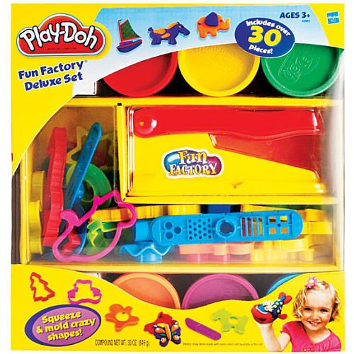 Play-Doh Fun Factory Deluxe Set provides open-ended, imaginative play for your child. Kids will be inspired to roll, mold, shape and cut lots of fun shapes and exciting creations! Set includes Fun Factory extruder, more than 30 shaping accessories and 6 colors of Play-Doh compound.<br><br>The Play-Doh Fun Factory Deluxe Set features:<br><ul><li>Includes over 30 pieces</li><li>Squeeze and mold crazy shapes</li><li>6 colors of Play-Doh compound</li></ul><br><br> The Play-Doh brand is proud to…
