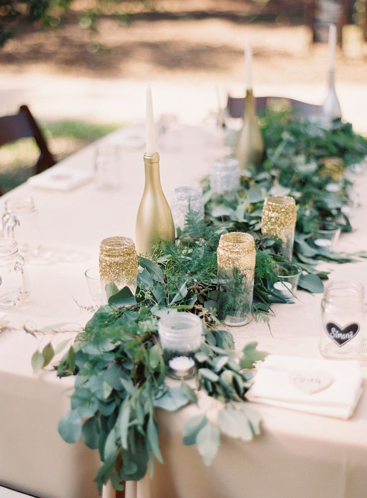 Casual Green And Gold Wedding