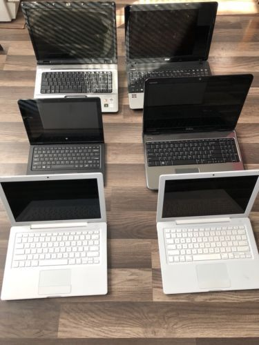 Lot Of 6 Laptops Parts Or Repair ACCER, HP, Apple MacBook, Dell
