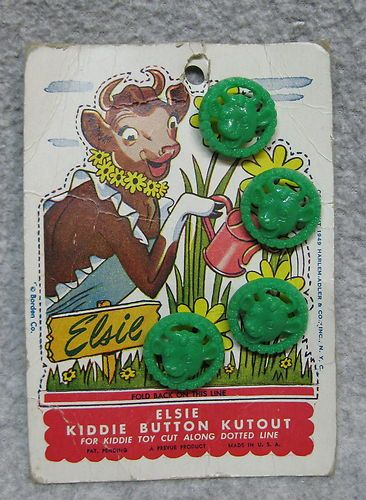 ButtonArtMuseum.com - Elsie Borden 1949 Figural Green Buttons on Card