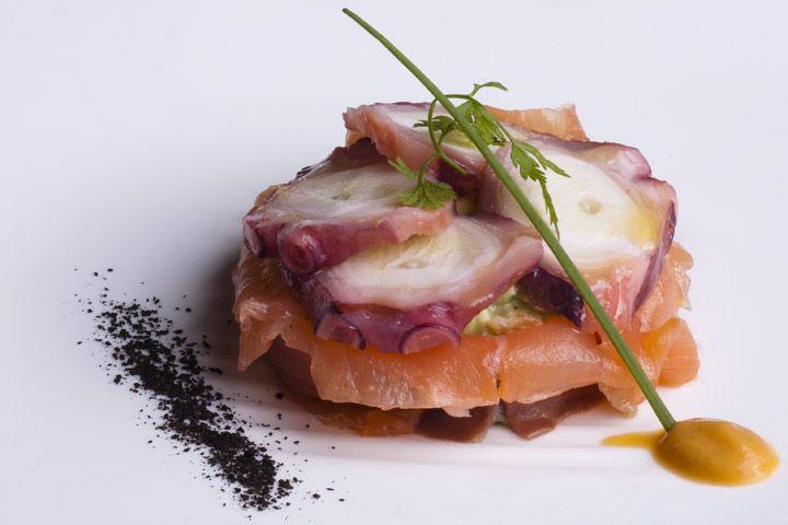 Don Bocarte - arte en el paladar - Ensalada de Pulpo, con tartar de aguacate y salmón ahumado