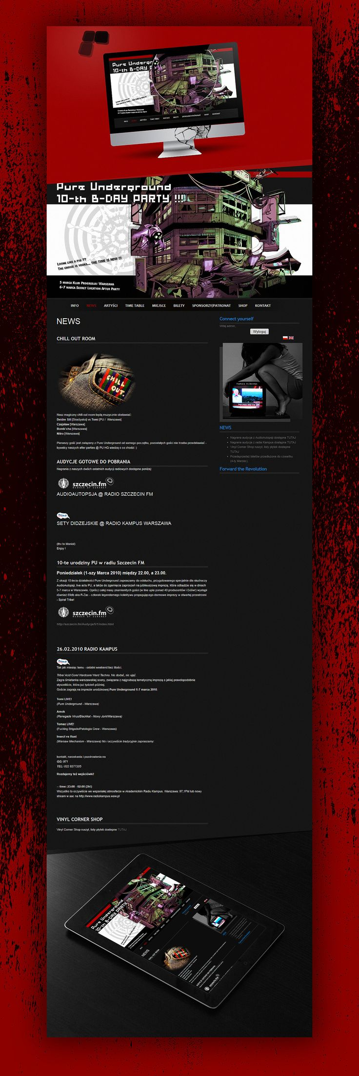 On the occasion of the 10th birthday of our collective, in March 2010 we organized a party at the club Progresja in Warsaw. Next day, the most persistent guests could taste vibe of the most underground and mysterious after party in capital. We designed all promo materials for this event and whole work was inspired by cyberpunk culture. Webpage has been made using Joomla CMS.