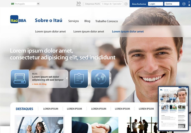 Itaú. Website created for the Itaú Bank.