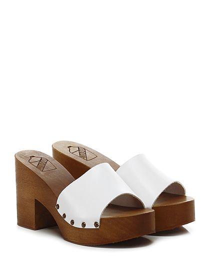 Antidoti - Sandalo alto - Donna - Sandalo alto in pelle con suola in gomma. Tacco 95, platform 40 con battuta 55. - BIANCO - € 89.00
