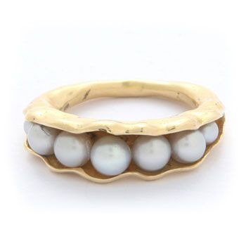 Grey freshwater pearls are encased in sculpted 18ct yellow gold seed pod. The smooth gold is finished with burnished edges to create an organic and natural design. This ring is a limited edition series of 24 and is signed by Annoushka (is a fine jewellery collection created by Annoushka Ducas.