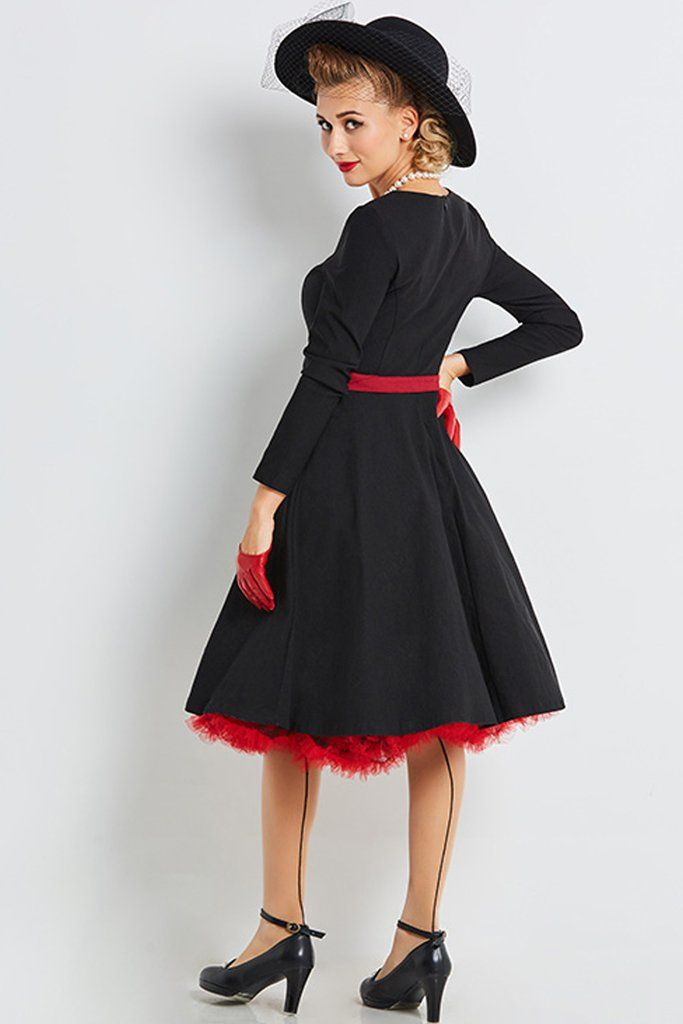 Go for the classic in our Atomic Vintage Black Swing Cocktail Dress with Belt