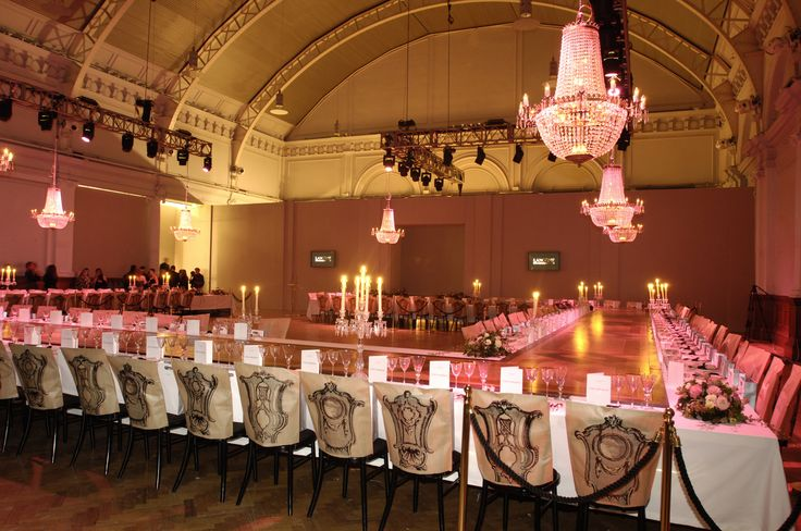 Dinner runway set up at the Lindley Hall. Central London Event Venue.
