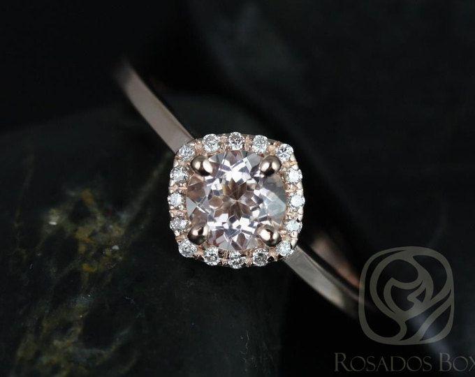 14kt de 5mm de Kyla Rose oro puro y diamante cojín Halo anillo de compromiso (otros metales y piedra opciones disponibles)