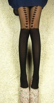 Girl sexy Pantyhose Heart Stockings women Tights hosiery Garter Belt Look Hot