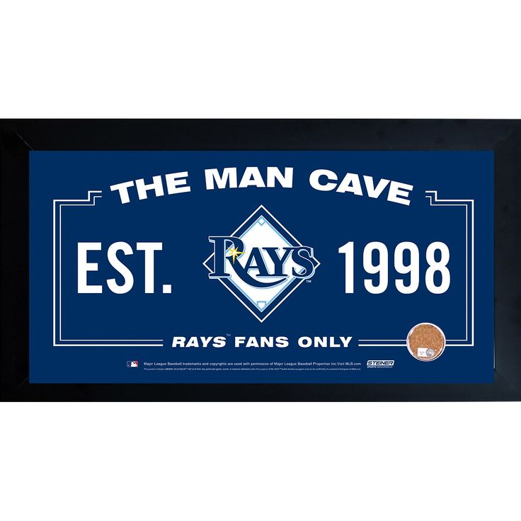 Steiner Tampa Bay Rays Man Cave Framed 10x20 Sign W Authentic Game Used Dirt
