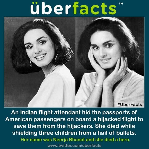On September 6, 1986 the US bound Pan Am Flight-73 flight at Karachi airport was hijacked. Flight attendant Neerja Bhanot, 23, sacrificed her life to save the passengers, including three children from being shot. Her heroic act saved the lives of the 375 passengers including crew members.
