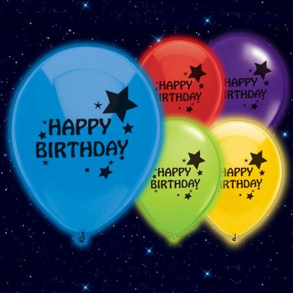 Selvlysende Happy Birthday Illoom Ballon - Pakke med 5