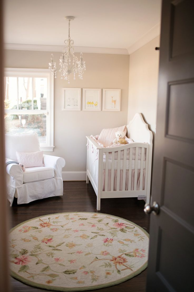 baby girl nursery | soft colors | neutral | chandelier