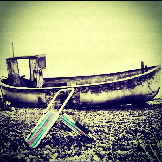 Wrecked boat at Dungeness