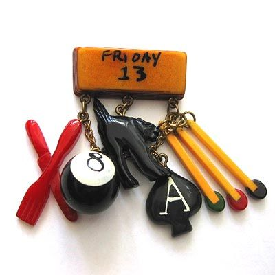 Friday The 13th Bakelite Brooch. Jewelry for witches or kindergarten teachers or Ms. Frizzle.