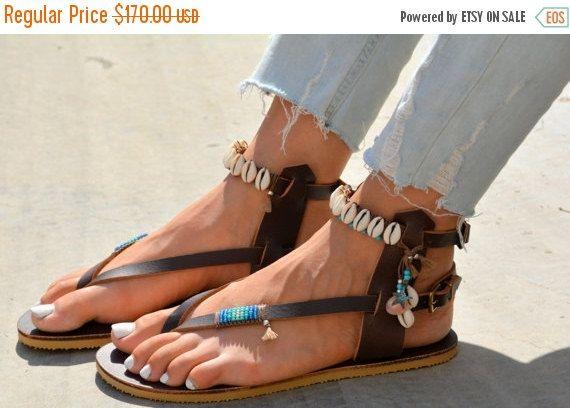 SALE Genuine Handmade Bohemian Leather Sandals por SarakWorkshop