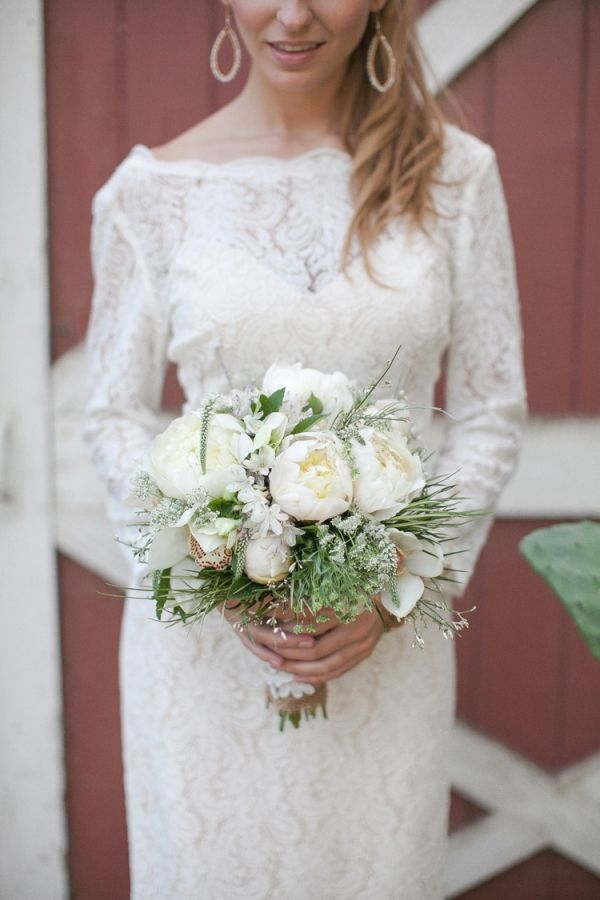 white peony bouquet with a lace longsleeve gown // photo by Bryan N Miller Photography // flowers by Jennifer Cole Florals