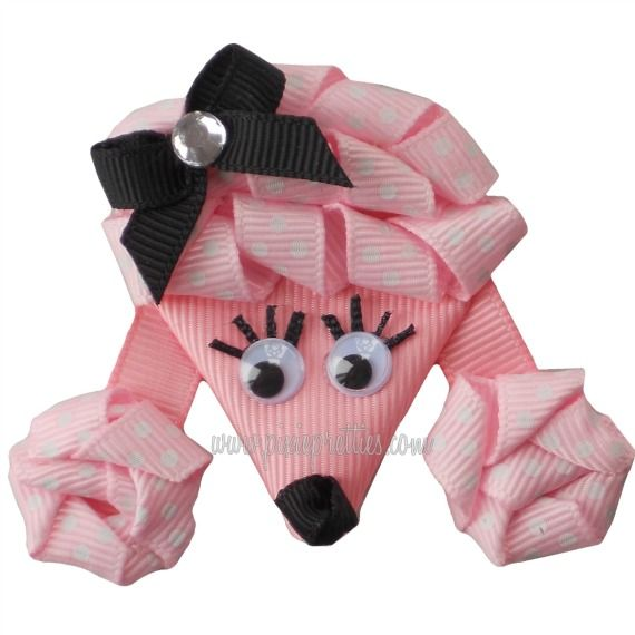 Pink Polka Dot Poodle RIbbon Sculpture
