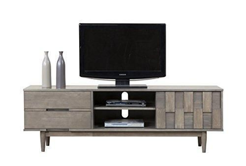 Mid Century Danish Style Wood 70 inch Media Console TV Stand in Rich Gray Finish with 2 Drawers