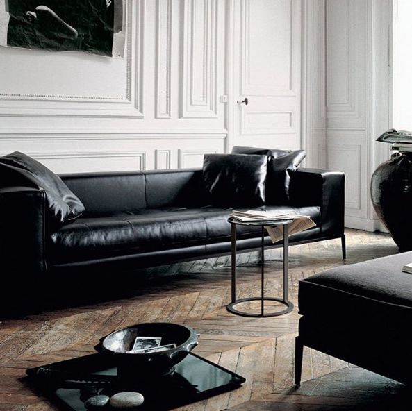 this black leather sofa would pair nicely with the cocoa petrie masculine living roomsblack