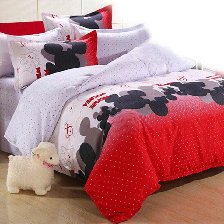 4Pcs 3pcs Kids Cute Bedding Set Cartoon Minnie Mouse Monkey Cat Bed Sheet/Duvet Cover/Pillowcase Bed Set Boys Girls Bedding Sets //Price: $26.22 & FREE Shipping //     #bedding sets