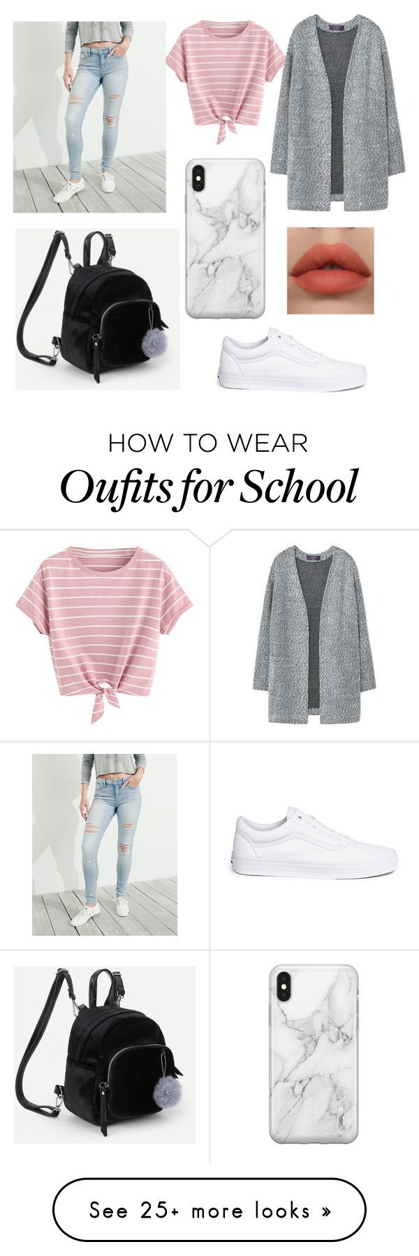 """School"" by jennyvns on Polyvore featuring MANGO, Hollister Co., Vans and Recover"