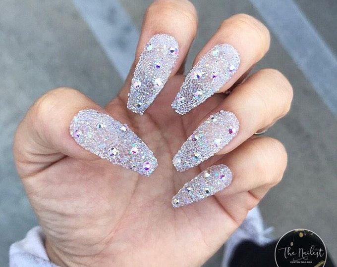 Custom Press On Acrylic Nails Set Of 10 Any Size Shape Etsy In 2020 Crystal Nails Press On Nails Glue On Nails