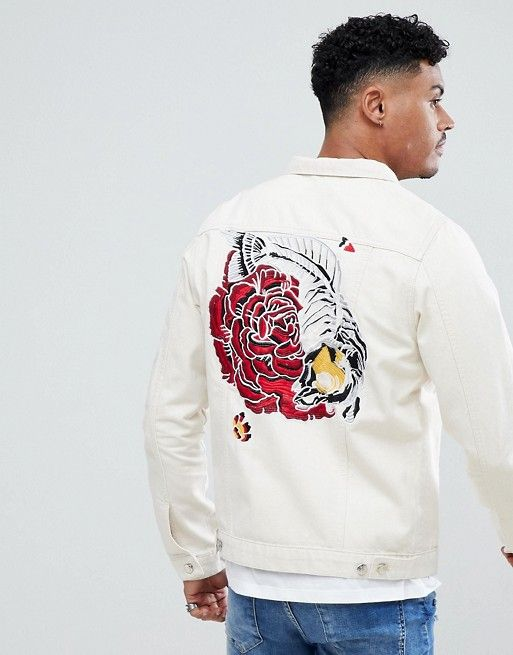 3ae2cbc7c Just Junkies Denim Jacket With Rose Embroidery | Mens Embroidery ...