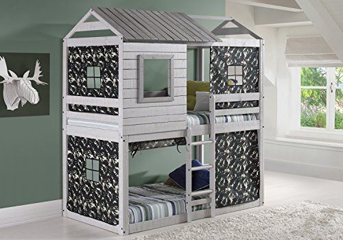 Create a fun space for your children to play and sleep with this twin over twin bunk bed's unique loft design. Constructed of solid pine wood with a light grey finish, the bed includes a green camo tent kit to help boost your child's imagination. Features: Twin bunk bed Loft-style Pine... more details available at https://furniture.bestselleroutlets.com/children-furniture/bed-frames-headboards-footboards/product-review-for-house-double-bunk-beds-with-camouflage-tent
