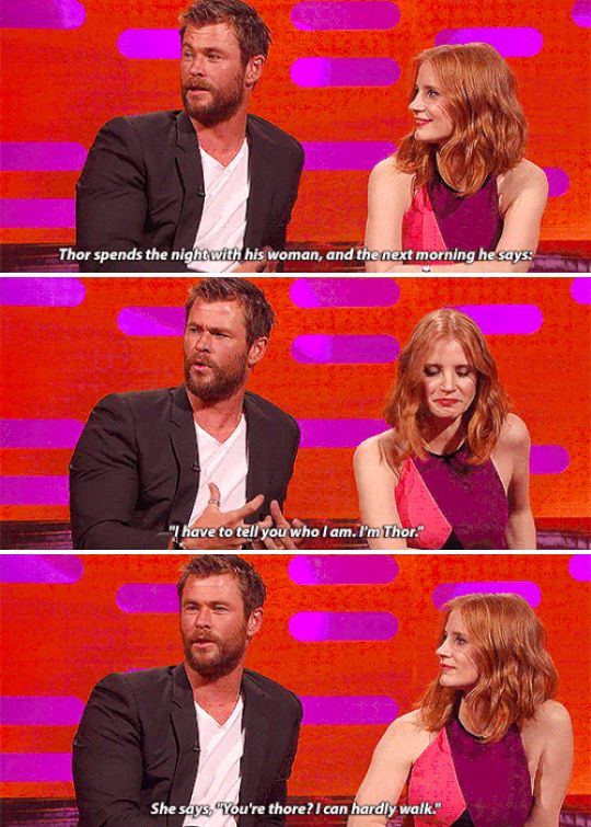 """When Chris Hemsworth told his best – and punniest – Thor joke.   23 Of The Best Things To Ever Happen On """"The Graham Norton Show"""""""