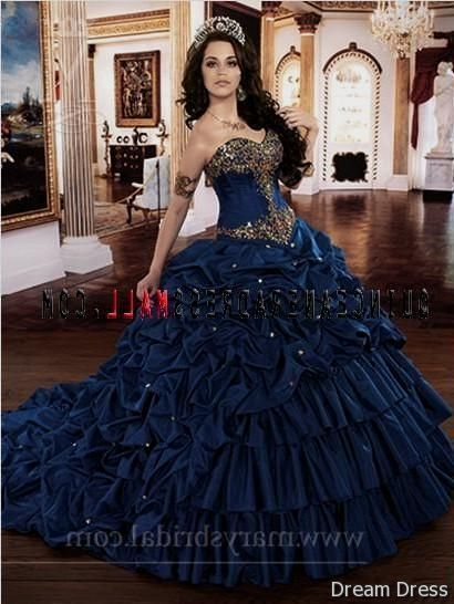 Navy blue and gold quinceanera dresses