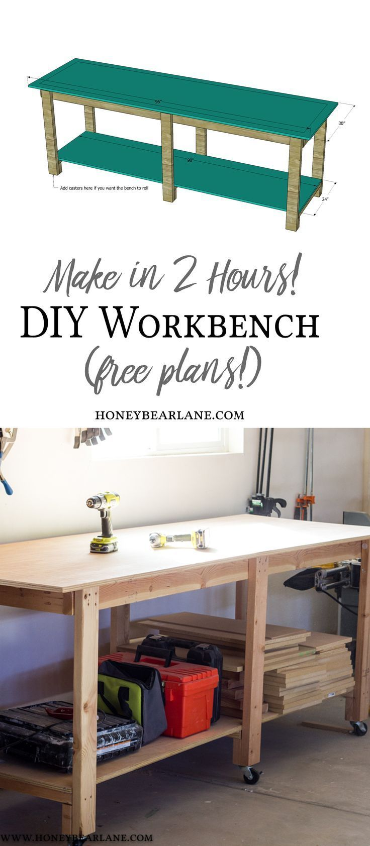 Two Hour DIY Workbench (Free Plans | DIY Ideas for the Home ...