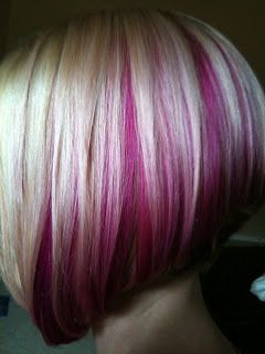 Pink hair under plantinum blonde, love these colors!! Do not want the cut just the color