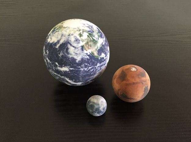 Earth, Moon & Mars to scale by Gioann on | Mars moons ...