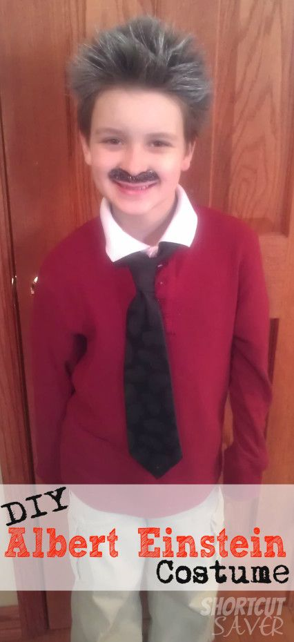 DIY Albert Einstein costume using a tie, hair paint, sweater, and white collared shirt. Great for classroom Halloween parties.