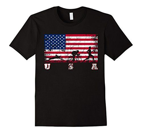 Men's Triathlon Team Gift - American Flag Triathlon Shirt Medium Black - http://www.exercisejoy.com/mens-triathlon-team-gift-american-flag-triathlon-shirt-medium-black/fitness/