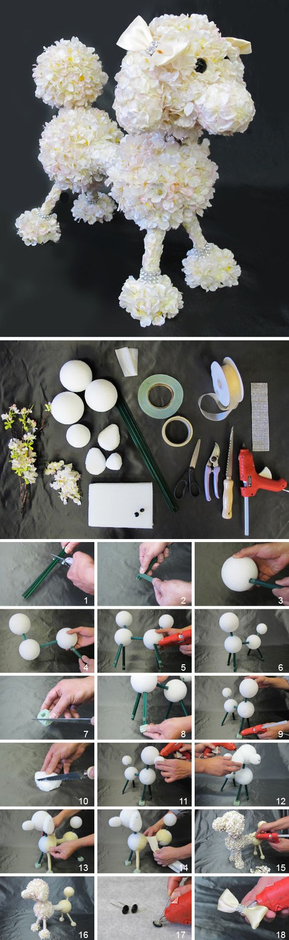 Tutorial de Como hacer la escultura de un caniche con flores. #ManualidadesParaFiestas
