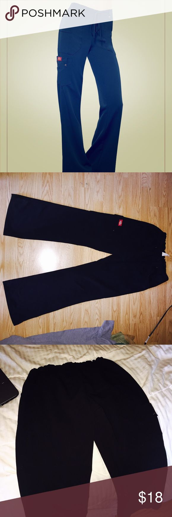"""Dickies Xrtreme stretch drawstring scrub pants XS COLOR: Black; size XS, not sure on the exact length but I'm 5'6"""" and they are about perfect. These are so comfy and cute!! If I needed black still I wouldn't be selling them. I wear a size 28 jeans for size reference. I have two pairs of these for sale as well as two Dickies black tops. Dickies Pants"""