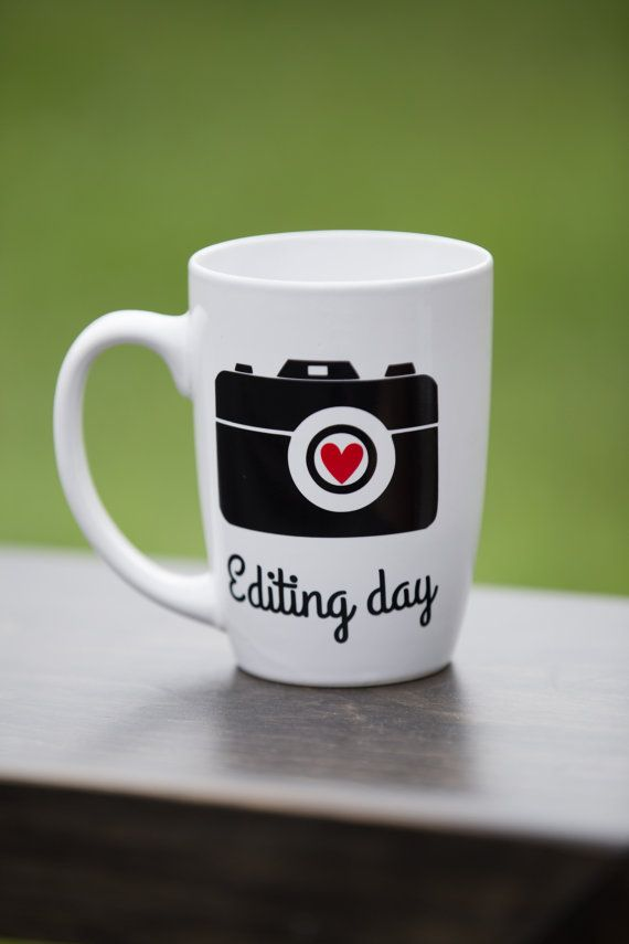 Photographer gift idea coffee mug. Editing day, custom tea cup with camera, red heart and phrase editing day. Perfect photography gifts mug