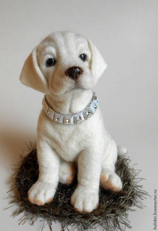 собака лабрадор ЛОРД - белый,собака,лабрадор,собака из шерсти,войлочная игрушка