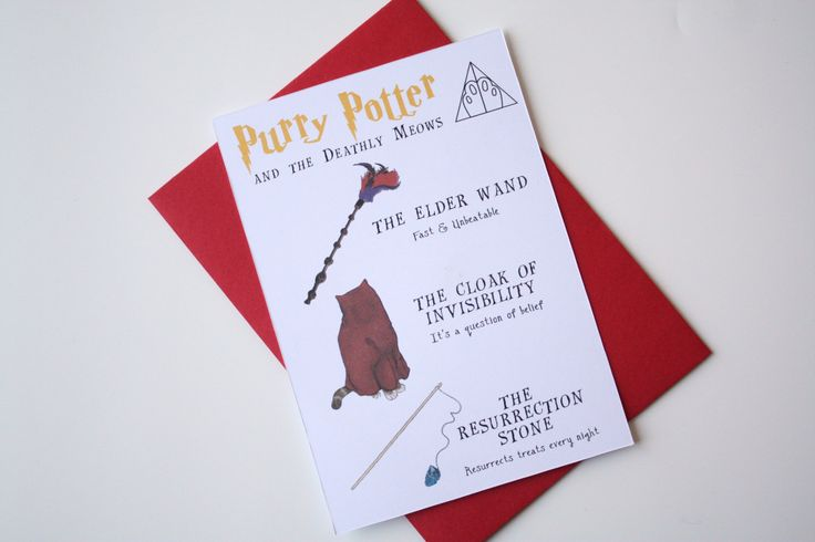 Harry Potter Card Cat Potter card Purry Potter and the Deathly Moews cloak of Invisibility Elder wand Resurrection Stone de la boutique MySweetPaperCard sur Etsy