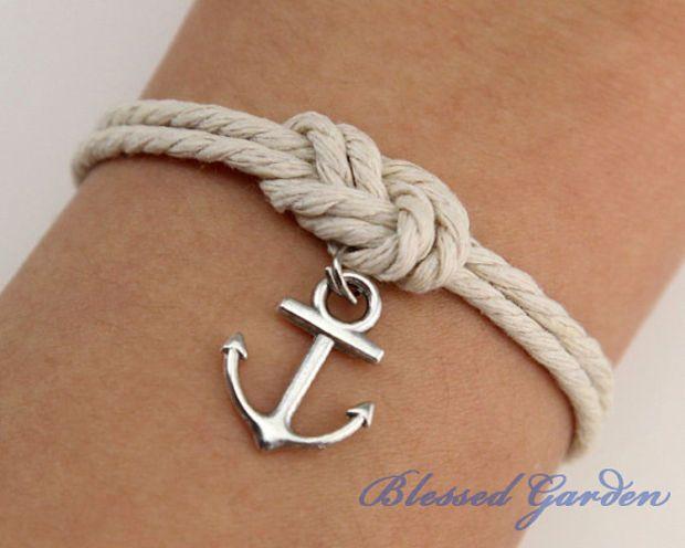 Anchor bracelet, mooring rope bracelet, fabulous navy bracelet, infinity knot, god's gift, antique silver,christmas gift on Wanelo