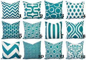 Teal Couch Pillow Covers Turquoise Pillow by CastawayCoveDecor