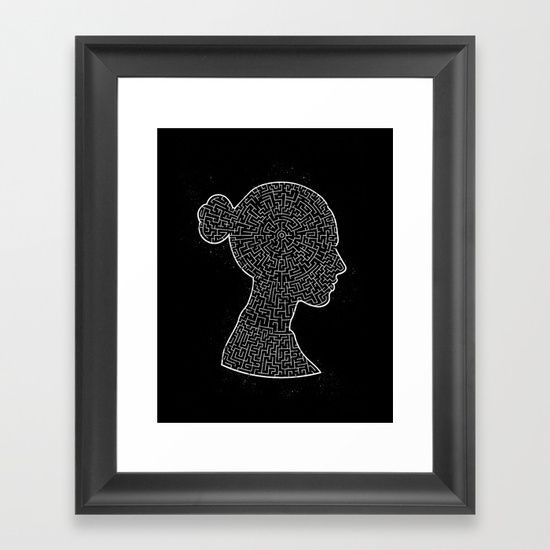 Mind Maze Portrait - white Framed Art Print