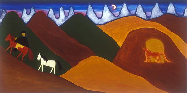 The Moon and the Puma Saying Goodbye to the Gaucho, 2006. Oil on linen, 76 x 152 cm. Exhibition: Imaginary Landscapes. Private collection. #painting #oilpainting #finearts #contemporaryart #cristinarodriguez