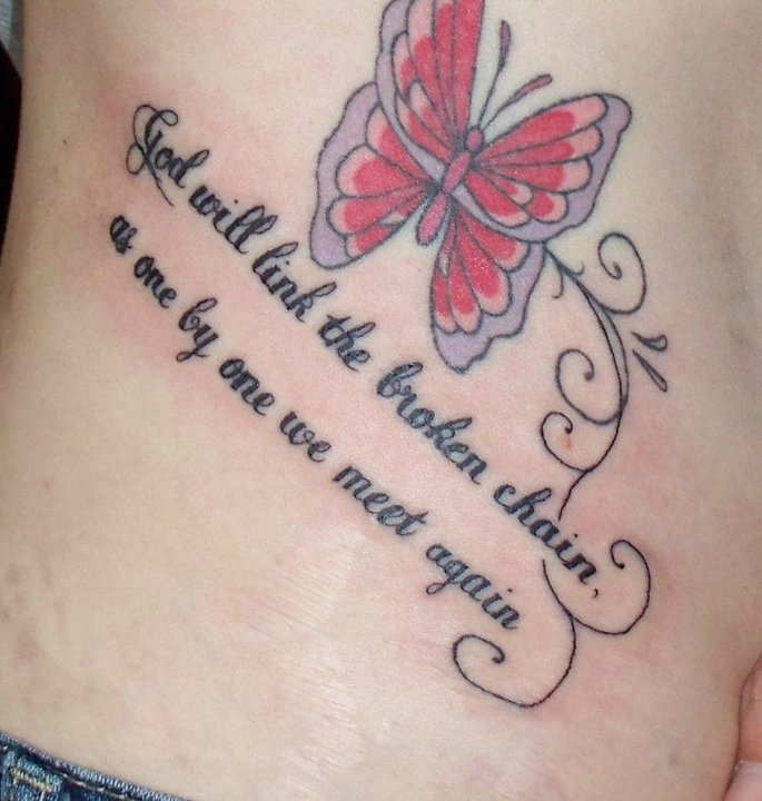 God will link the broken chain, as one by one we meet again     (My Grandad had this put in the book of remembrance at the crematorium when my Nan passed and I've wanted it for years)     Tattoo number 10 done by Rusty at Skin Kandi 4/8/11    Pic about 30 minutes after it was finished which is why its so red *my tattoo*