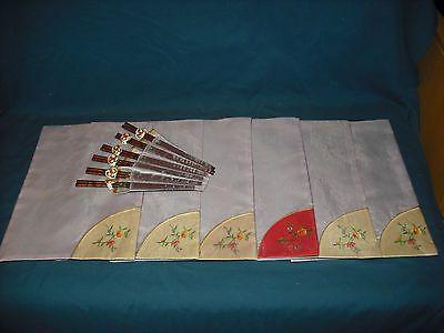 Asian Placemat, Chopsticks,Fan Chopstick Holder,Chopstick Rings, set of 6,NIP