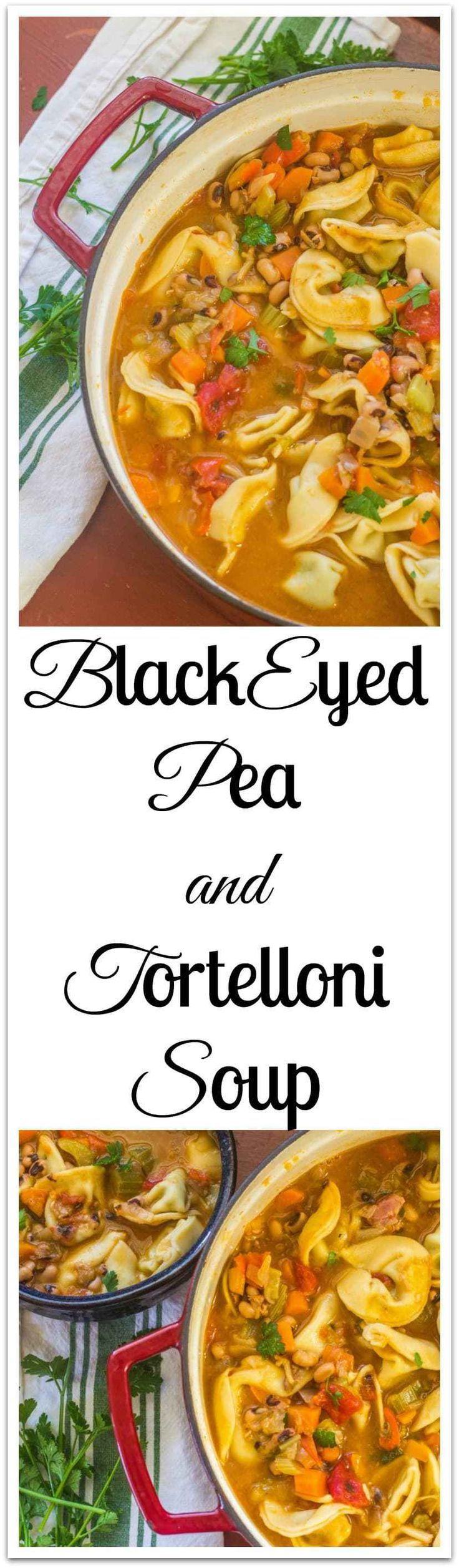 Black-eyed Pea and Tortelloni Soup. Chock full of vegetables, black-eye peas and tortelloni filled with ricotta cheese and spinach. A  quick-fix meal.