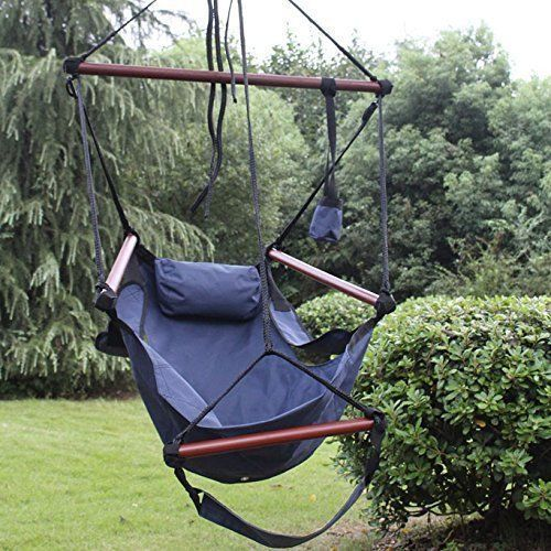Hammock Chair Swing Patio Durable Hanging Rope Relax Lounge Seat & Drink Holder #HammockChairSwing
